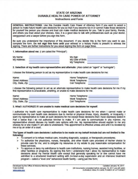 Arizona Medical Power of Attorney Form