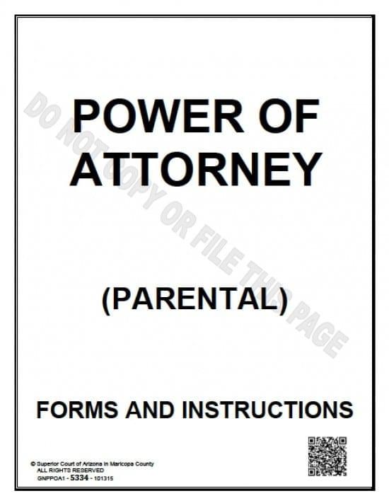 Arizona Minor Child Power of Attorney Form