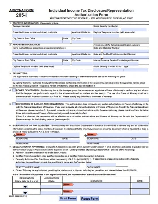 Arizona Tax Power of Attorney Form