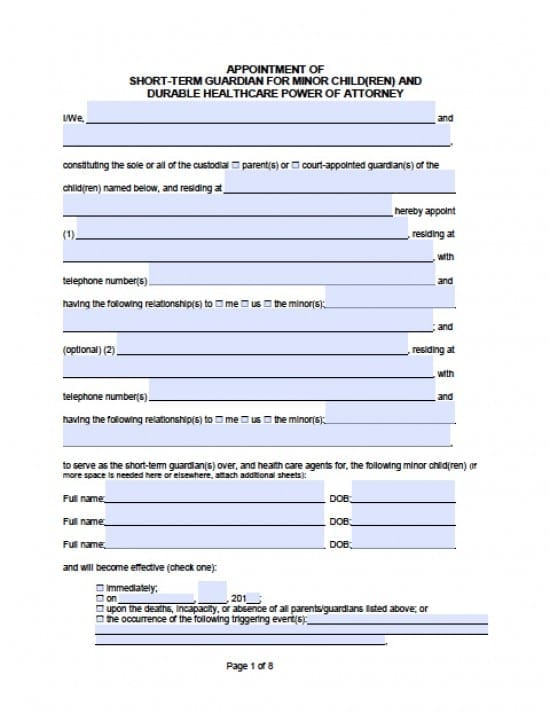California Minor Child Financial Power of Attorney Form