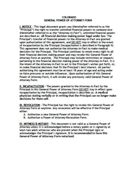 Colorado General Financial Power of Attorney Form