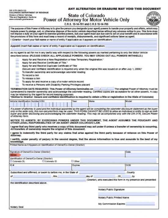 Colorado Vehicle Power of Attorney Form