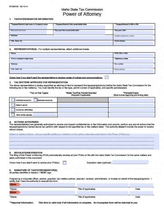 Idaho Tax Power of Attorney Form