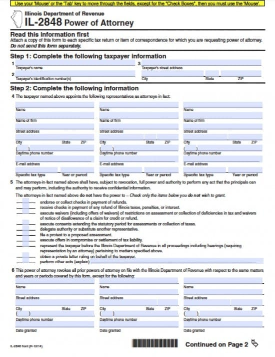 Illinois Tax Power of Attorney Form - Power of Attorney