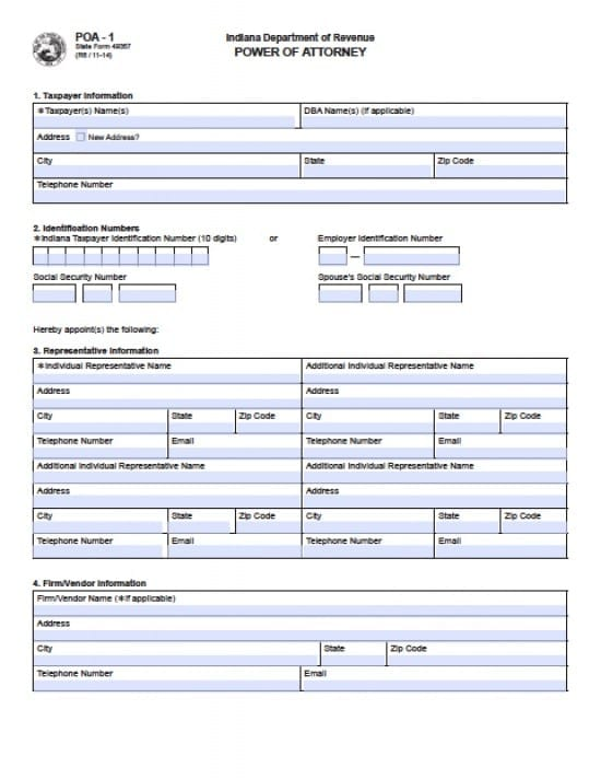 Indiana Tax Power of Attorney Form