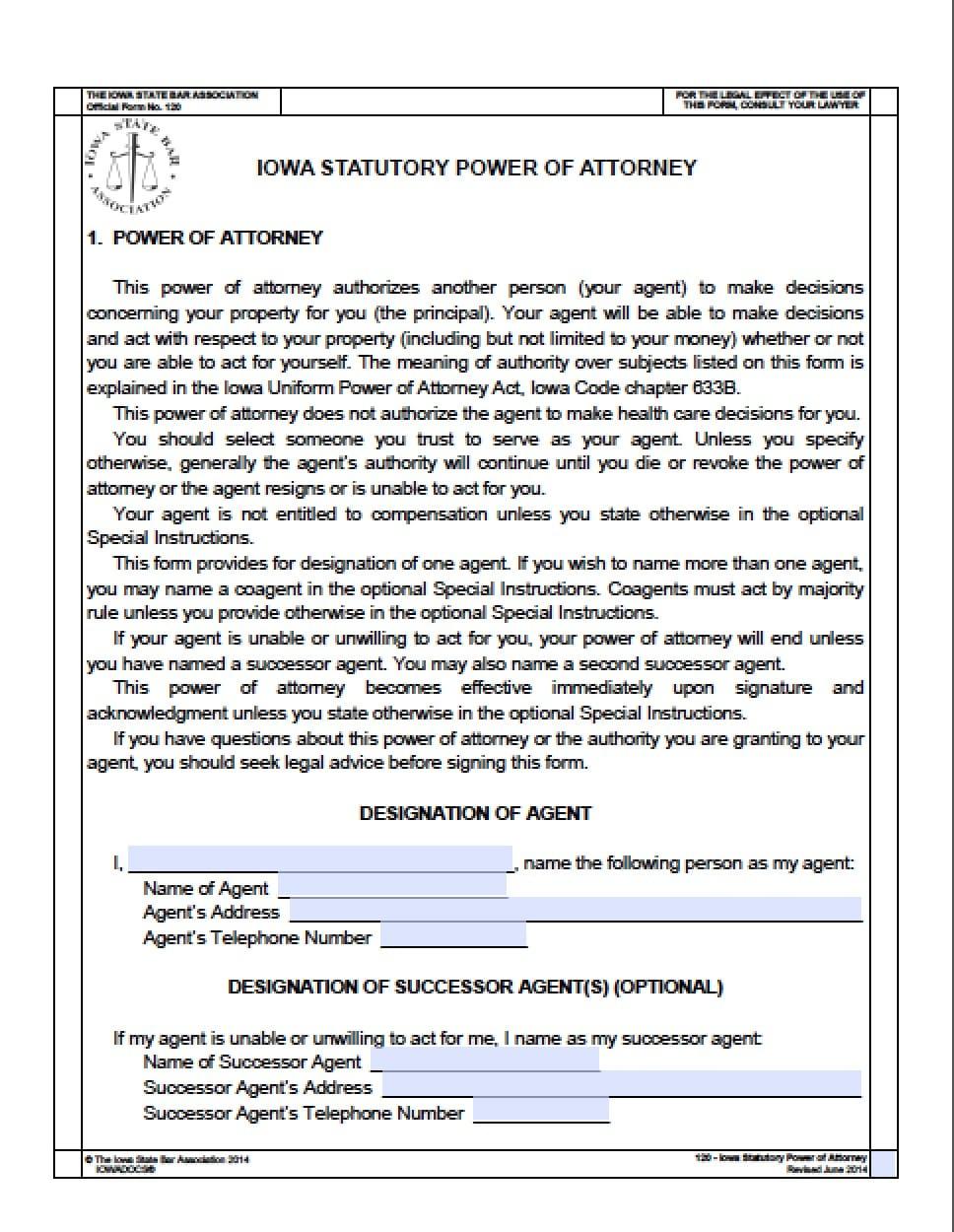 power of attorney form iowa  Iowa Durable Financial Power of Attorney Form - Power of ...