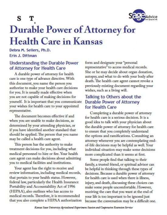 Kansas Medical Power of Attorney Form