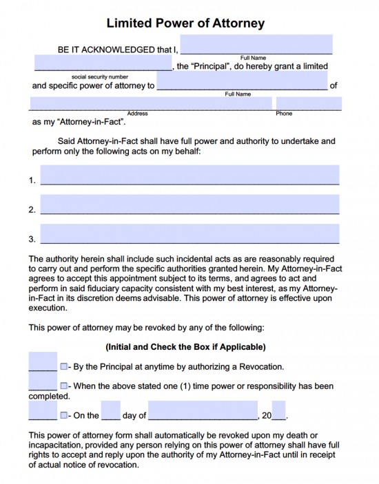 Limited Power of Attorney Form (Adobe PDF)