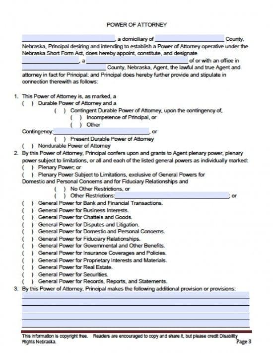 Nebraska General Financial Power of Attorney Form