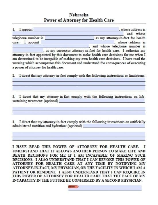 Nebraska Medical Power of Attorney Form