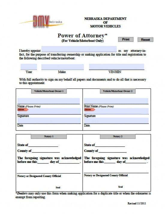 Nebraska Vehicle Power of Attorney Form