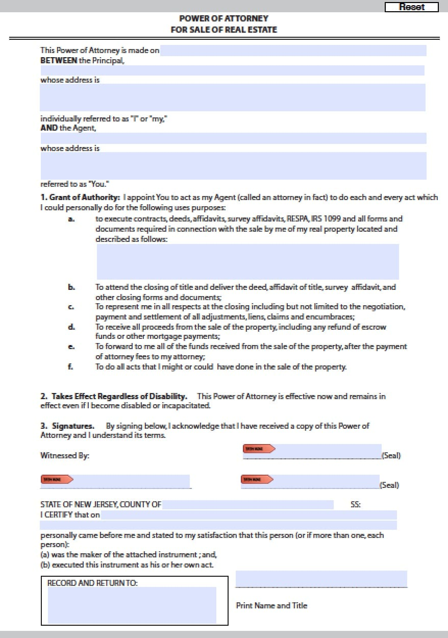 New Jersey Real Estate Only Power Of Attorney Form