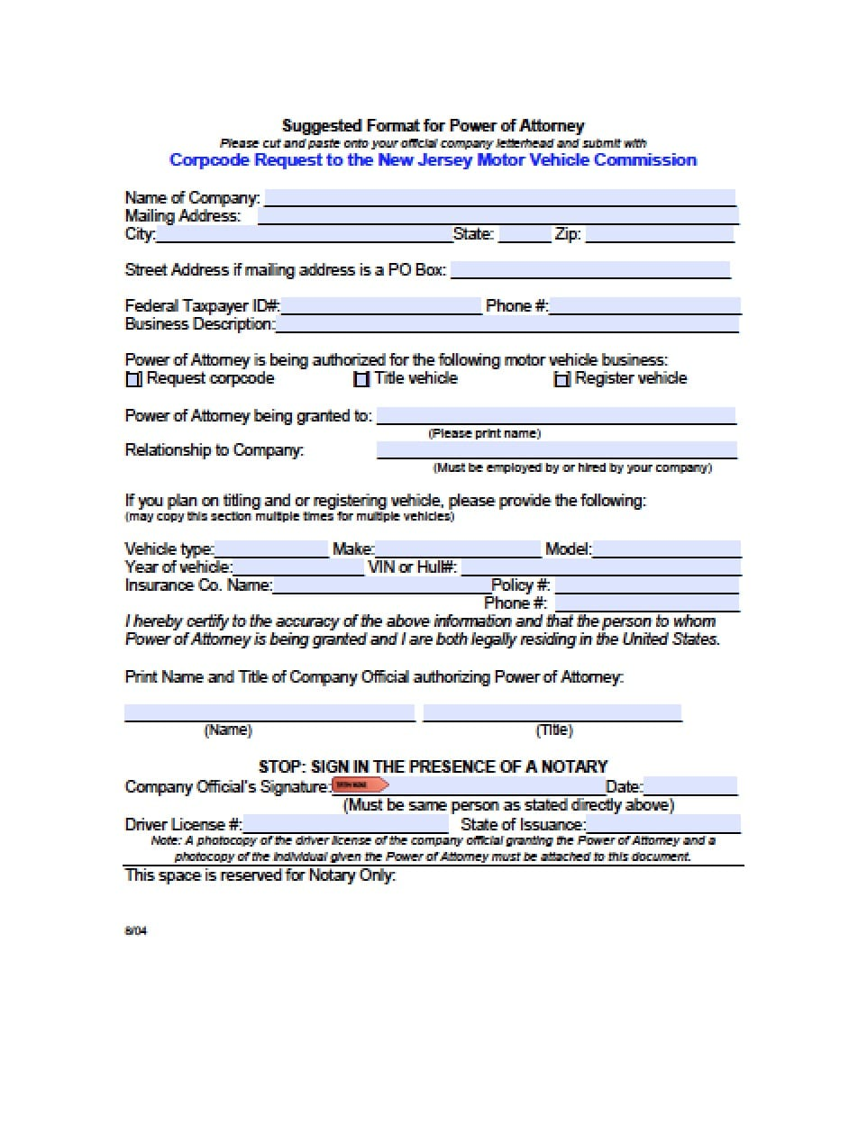 New Jersey Vehicle Power of Attorney Form - Power of