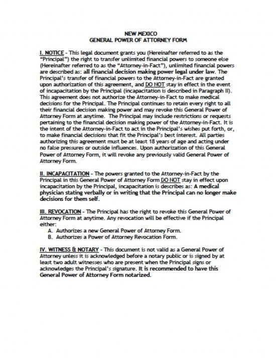 New Mexico General Financial Power of Attorney Form