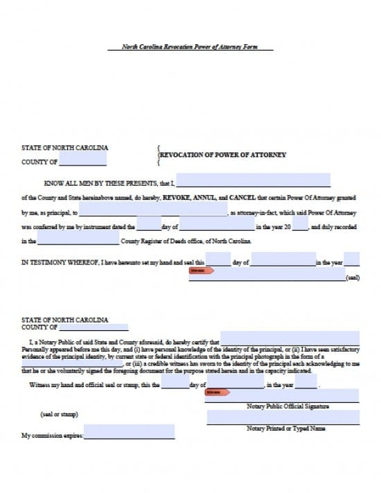 North Carolina Revocation Power of Attorney Form