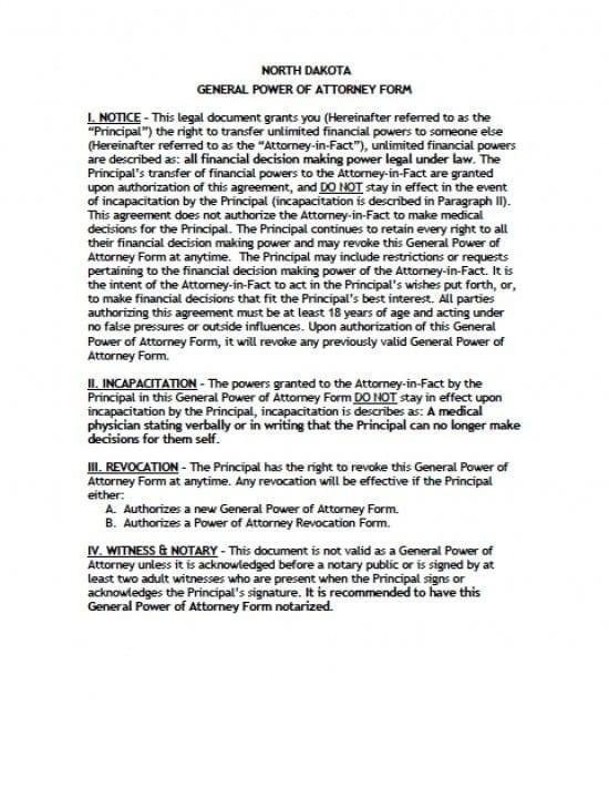 North Dakota General Financial Power of Attorney Form