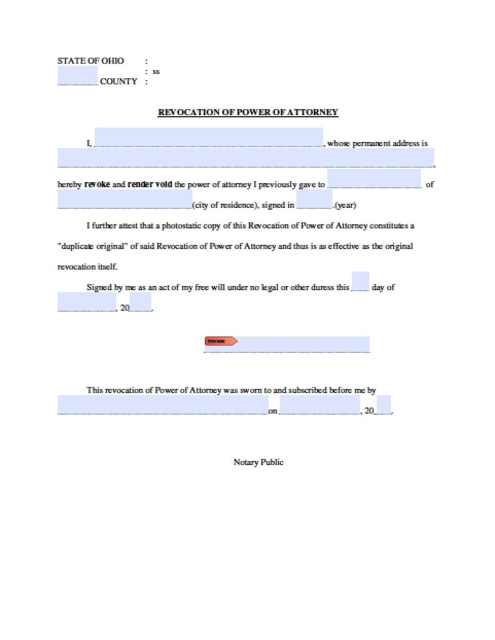 power of attorney resignation form  Ohio Revocation Power of Attorney Form - Power of Attorney ...