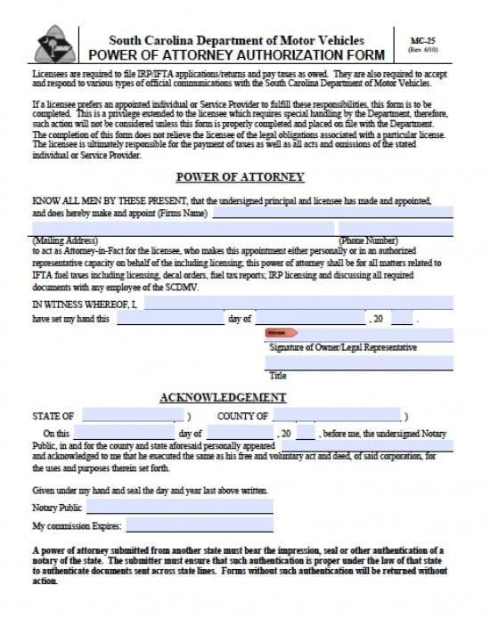 South Carolina Vehicle Power of Attorney Form