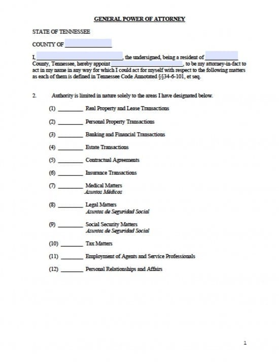 Tennessee General Financial Power of Attorney Form