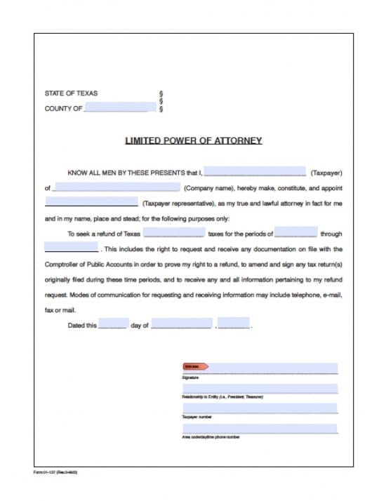 Texas Tax Power of Attorney Form