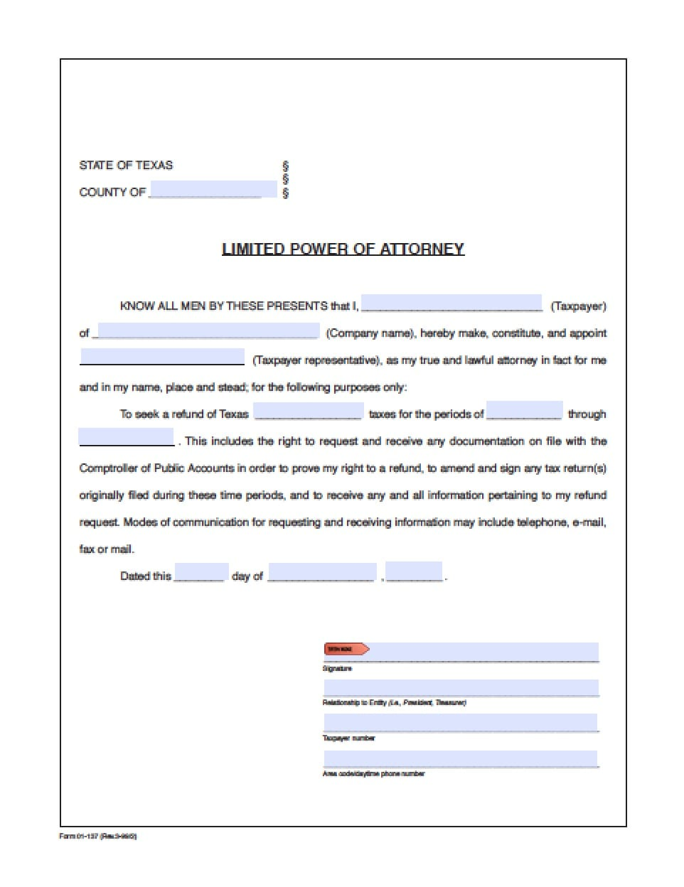 Texas Revocation Power of Attorney Form - Power of Attorney ...