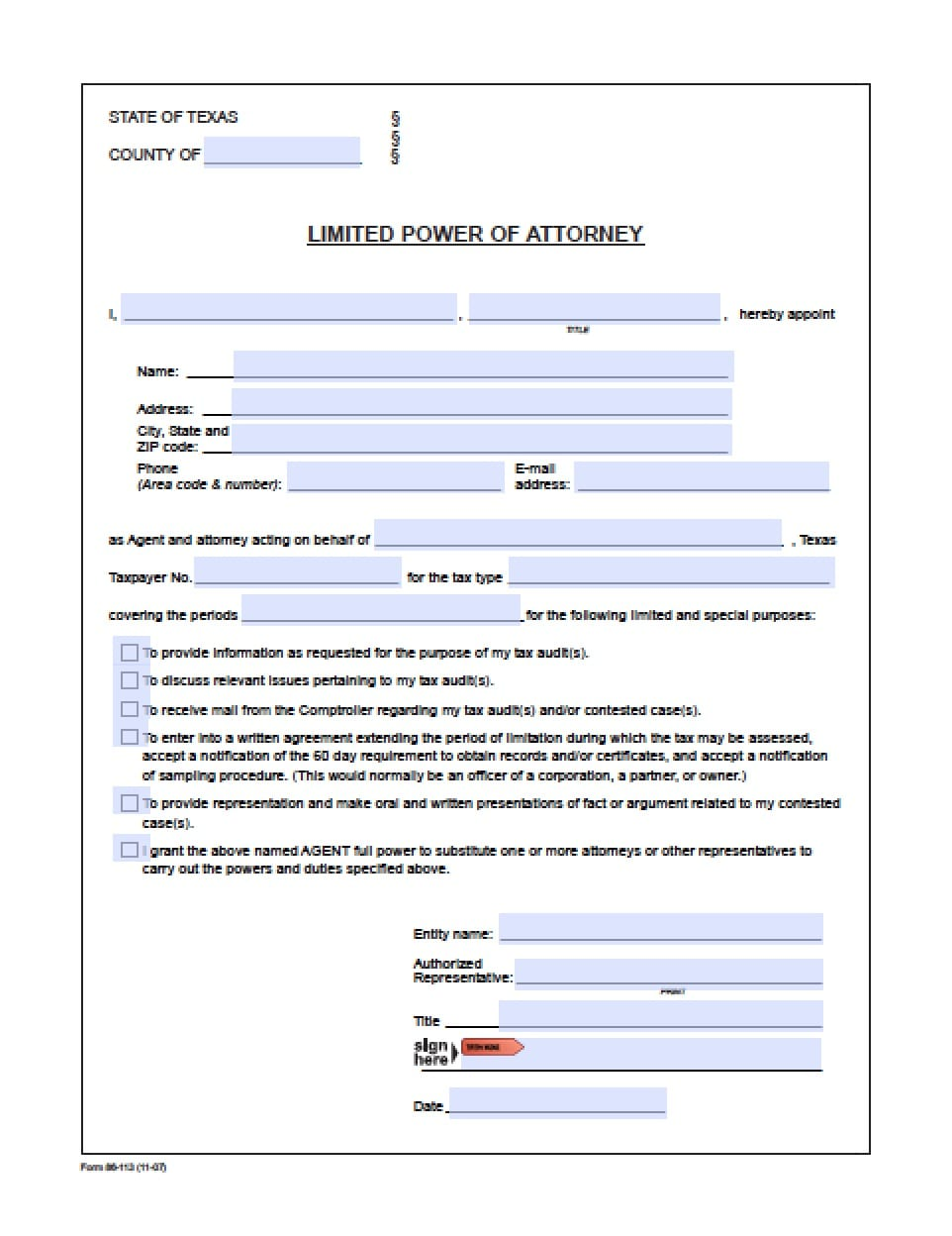 Texas Minor Child Power Of Attorney Form Power Of Attorney
