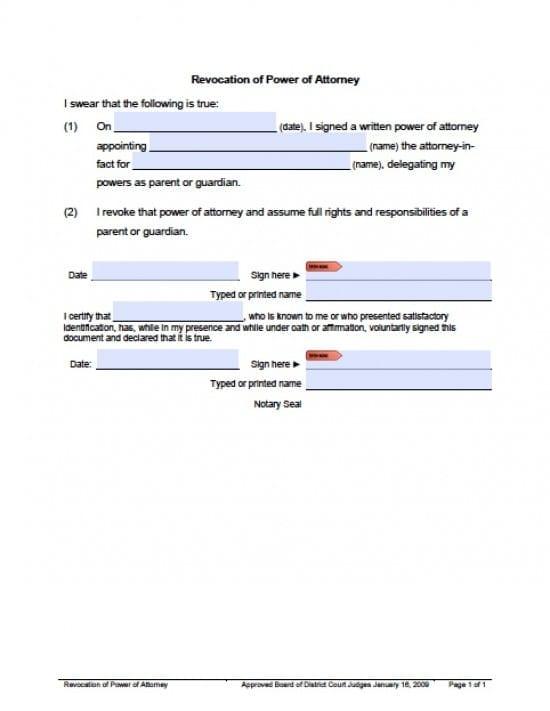 Utah Revocation Power of Attorney Form