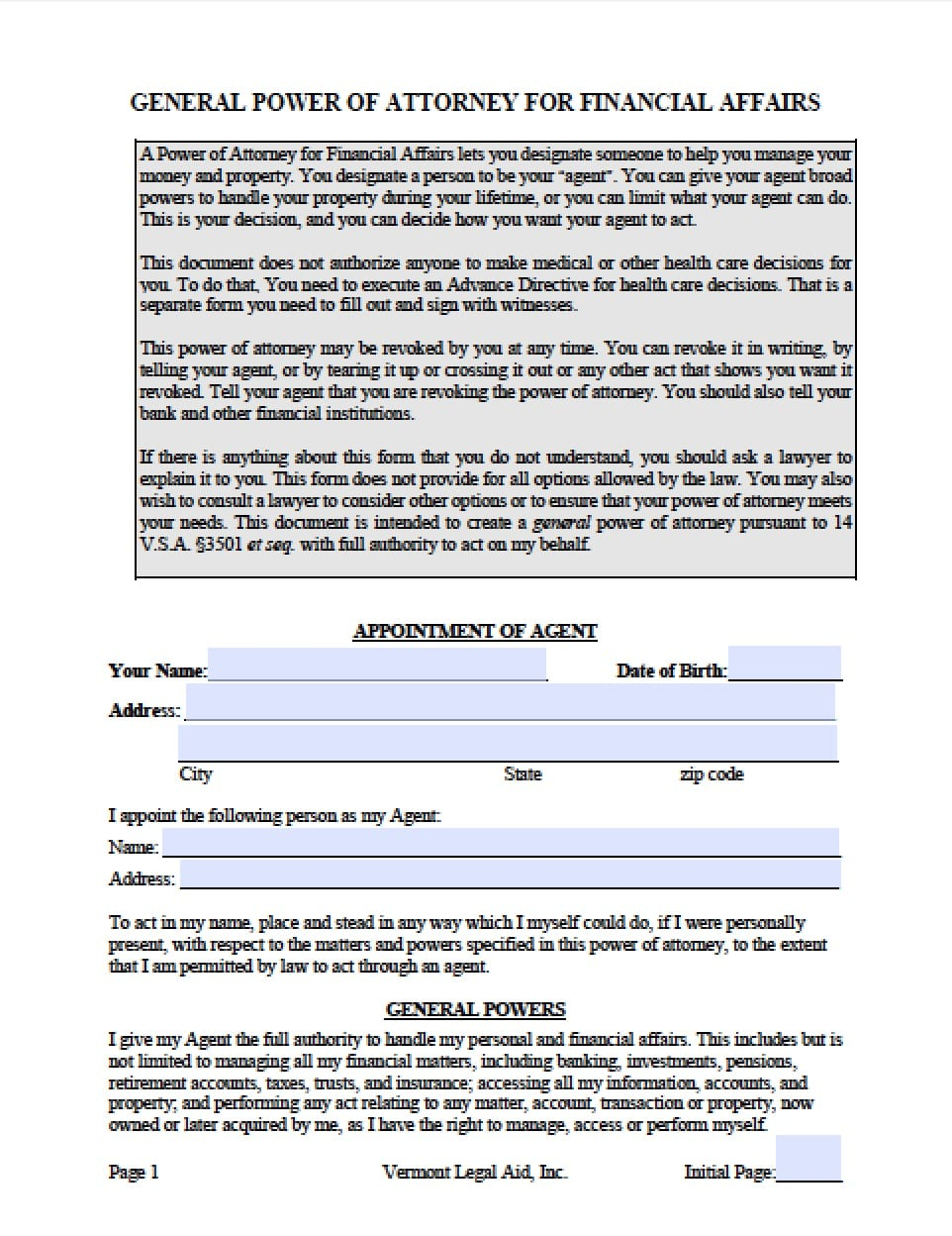 power of attorney form vt  Vermont Durable Financial Power of Attorney Form - Power of ...