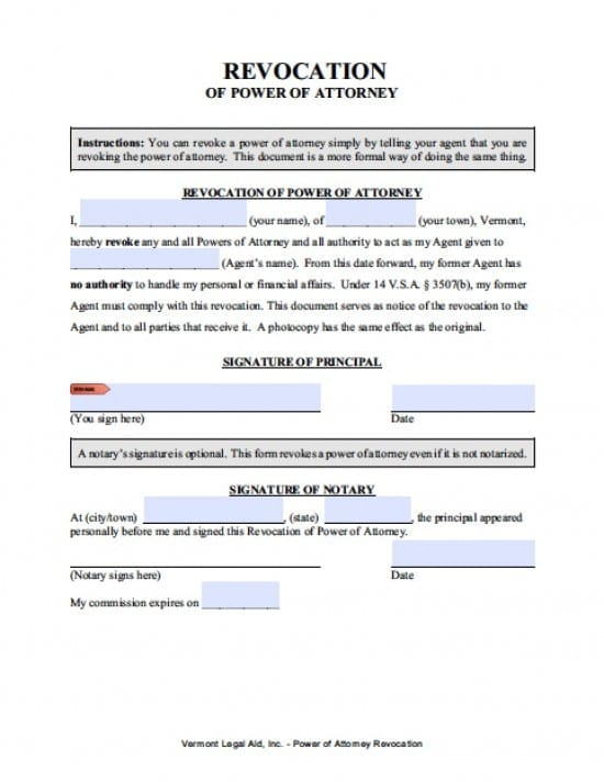 Vermont Revocation Power of Attorney Form