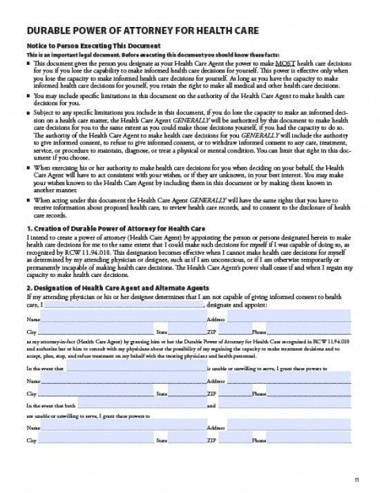 Washington Medical Power of Attorney Form
