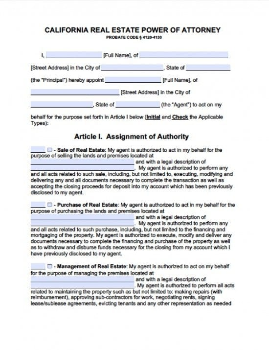 limited power of attorney form california  California Real Estate ONLY Power of Attorney Form - Power ...