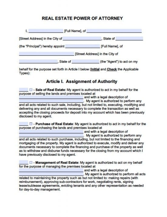 Colorado Real Estate ONLY Power of Attorney Form