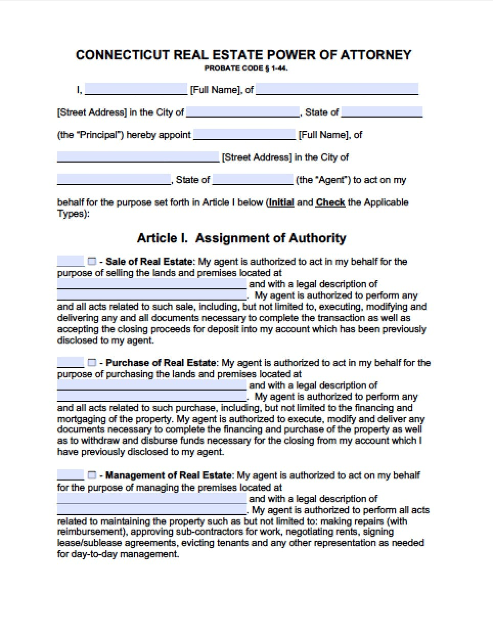 power of attorney form 1040  Connecticut Tax Power of Attorney Form - Power of Attorney ...