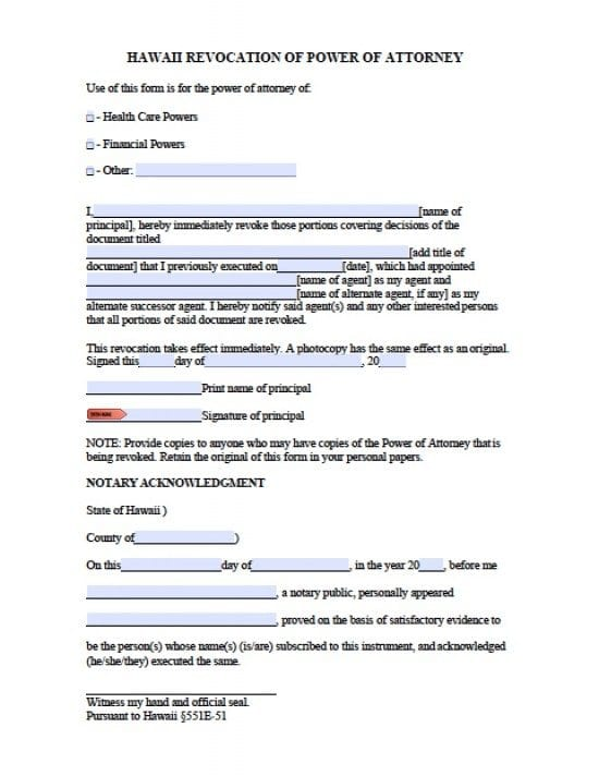 power of attorney form hawaii state  Hawaii Revocation Power of Attorney Form - Power of Attorney ...