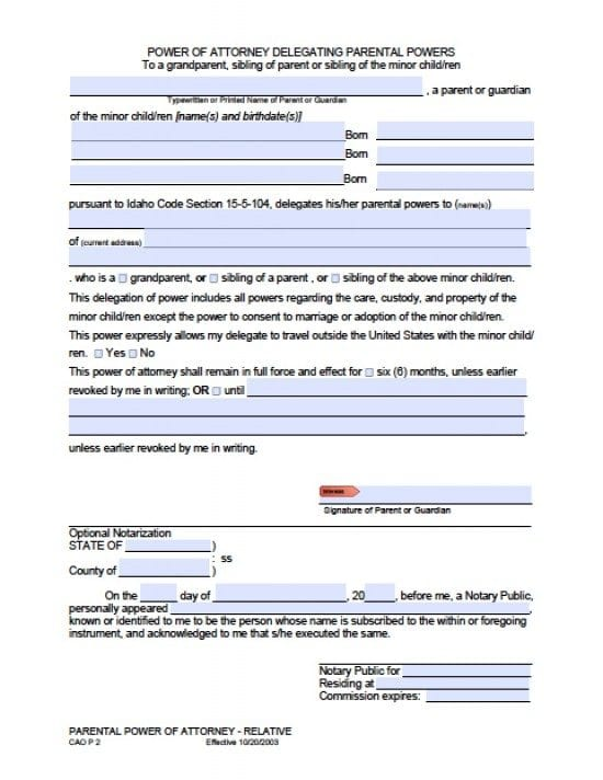Idaho Minor Child Power of Attorney Form