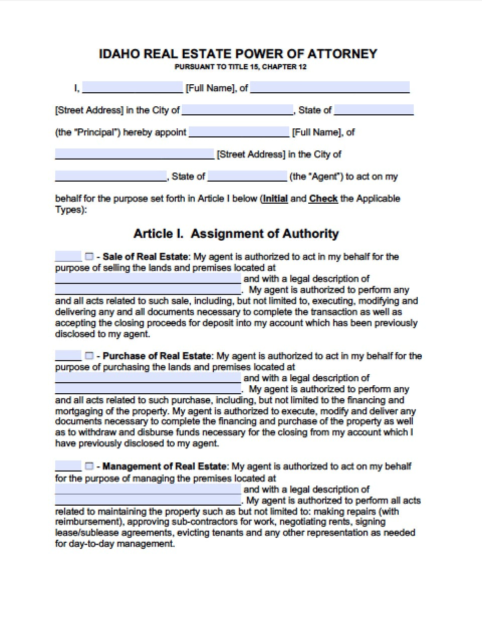 Idaho Real Estate Only Power Of Attorney Form Power Of