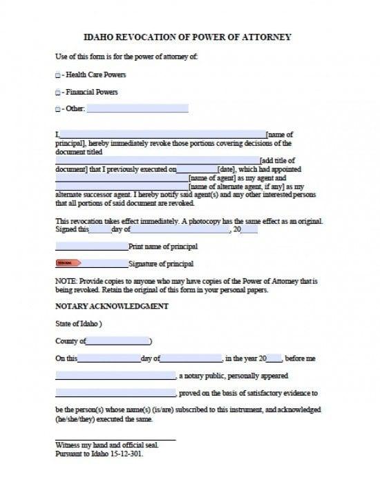 Idaho Revocation Power of Attorney Form