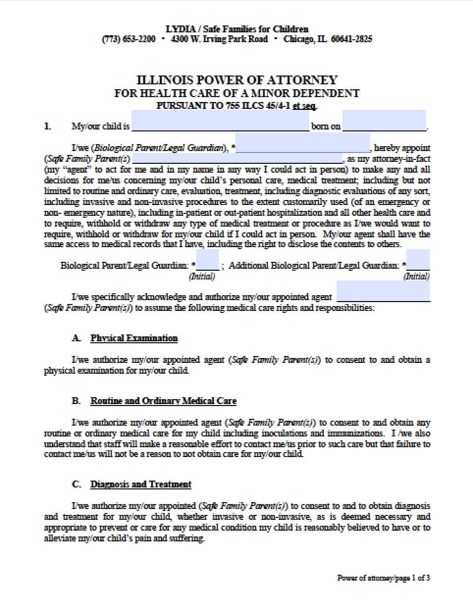 power of attorney form illinois  Illinois Minor Child Power of Attorney Form - Power of ...