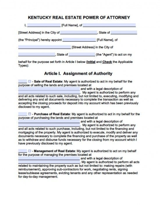 Kentucky Real Estate ONLY Power of Attorney Form