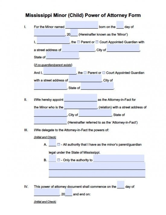 Mississippi Minor Child Power of Attorney Form