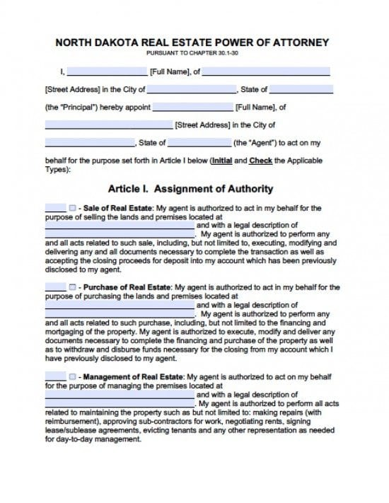 North Dakota Real Estate ONLY Power of Attorney Form