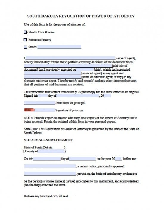 South Dakota Revocation Power of Attorney Form