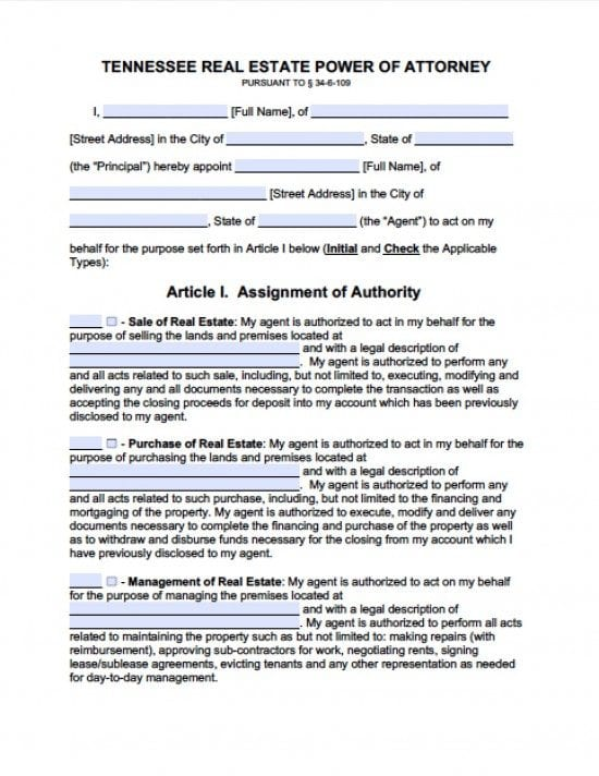 Tennessee Real Estate ONLY Power of Attorney Form