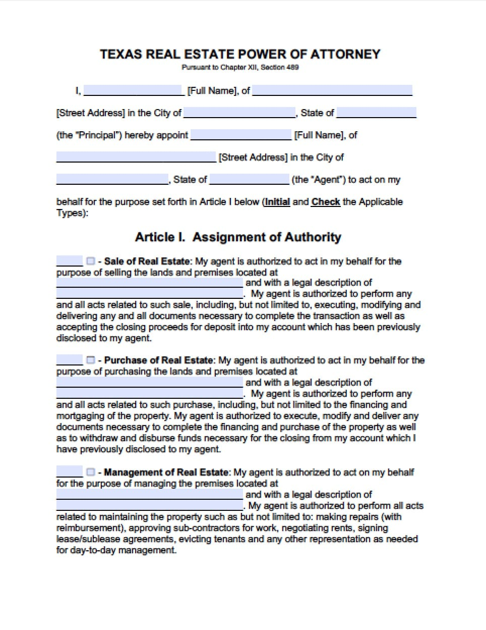 power of attorney form filled out  Texas Real Estate ONLY Power of Attorney Form - Power of ...