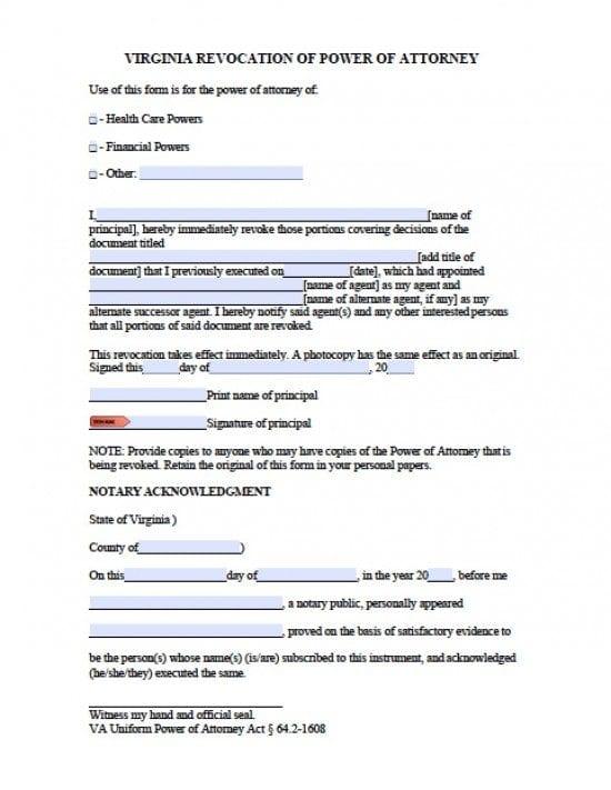 Virginia Revocation Power of Attorney Form