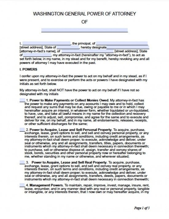 Washington General Financial Power of Attorney Form
