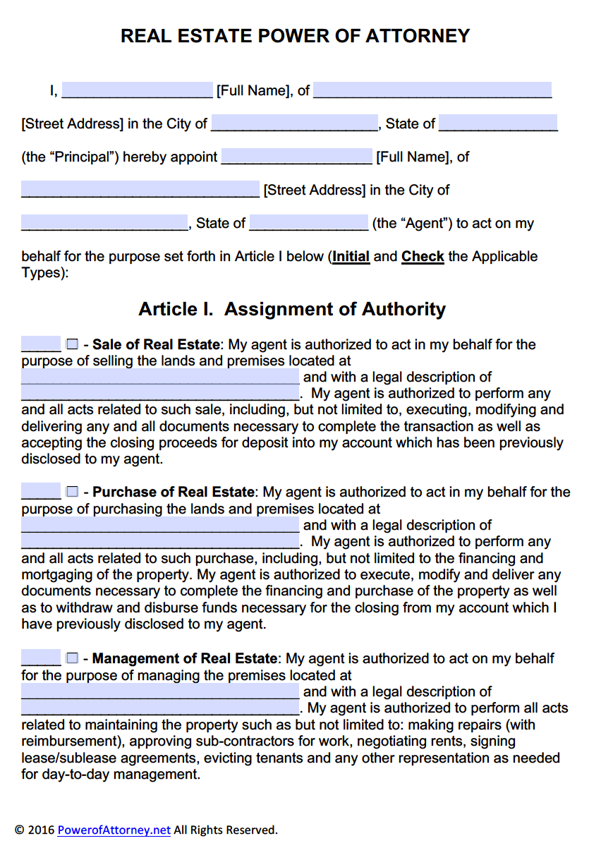 Real Estate Power Of Attorney Form | Pdf Templates - Power Of Attorney :  Power Of Attorney