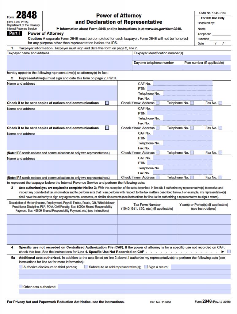 IRS Form (2848)