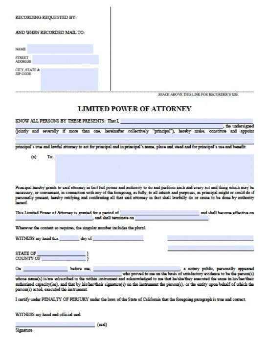 limited power of attorney form california  California Limited (Special) Power of Attorney Form - Power ...
