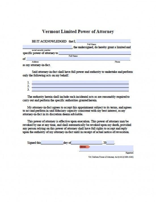 power of attorney form vt  Vermont Limited (Special) Power of Attorney Form - Power of ...